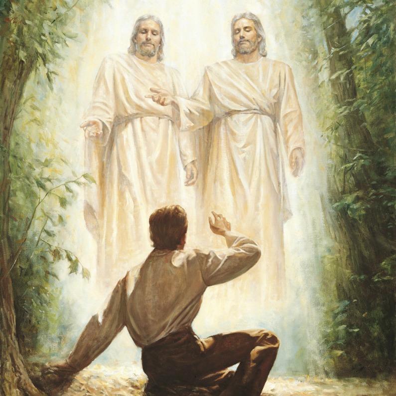 : Ілюстрації Першого видіння Джозефа Сміта, у якому він бачить Бога Батька та Ісуса Христа