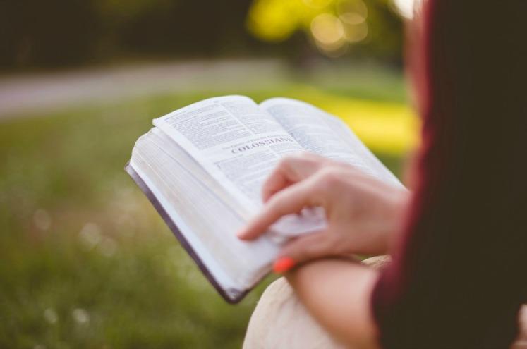 дівчина читає книгу мормона